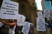 "On February 7, 2013, South African women protest the lack of prosecution for rapists which was earned South Africa the title of ""rape capital of the world."""