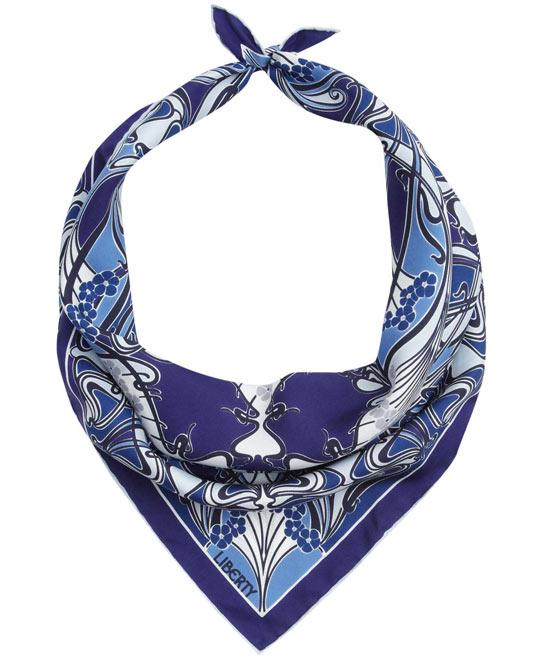 Blue Ianthe Print Silk Neckerchief. Liberty London Scarves. 2013.