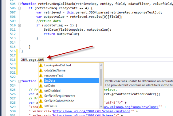 CRM JS Visual Studio Intellisense Example