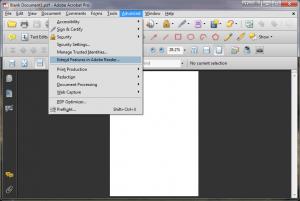 Adobe Acrobat Pro -Advanced menu - extend features menu option