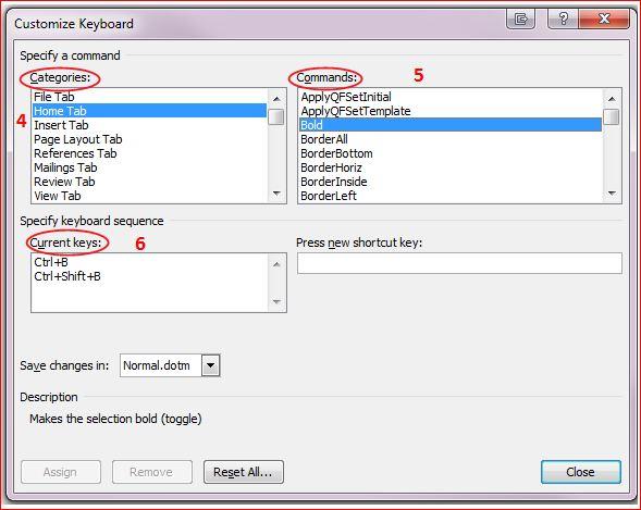 Word's Customize Keyboard dialogue box