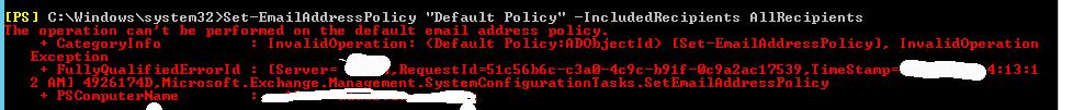 emailaddresspolicy error