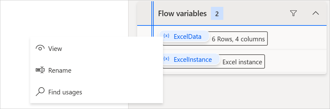 Variables pane - View context option