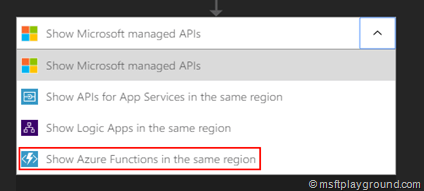 Logic App Api Selection