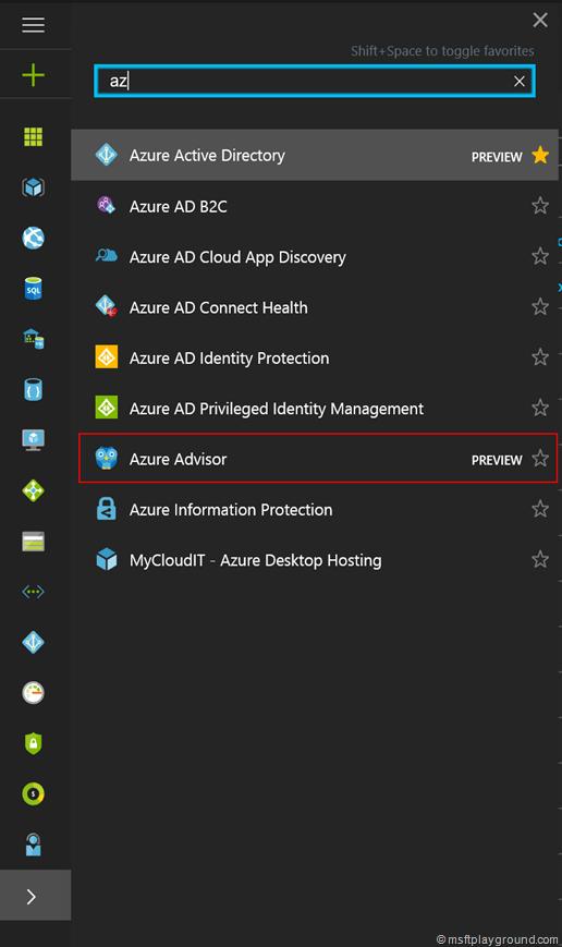Search Azure Advisor