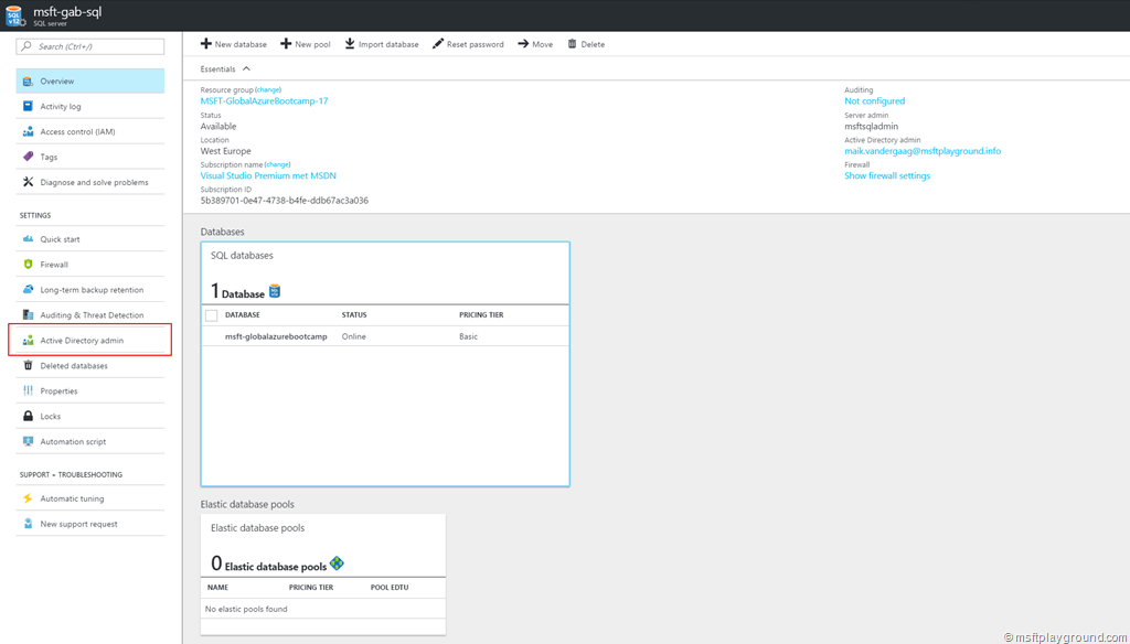 Part 1 Azure Sql Database With Azure Active Directory