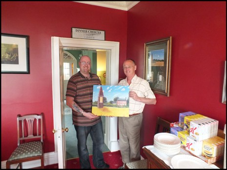 Me presenting Derek with a giclee print of the painting that i commisioned from Jerry Armstrong.