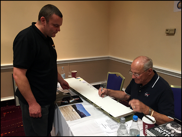 Jack Lousma signing and inscribing Matt's Space Shuttle panel from the STS 3 shuttle which Jack captained!