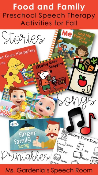 download a list of preschool speech therapy activities and lesson plans for food and family theme