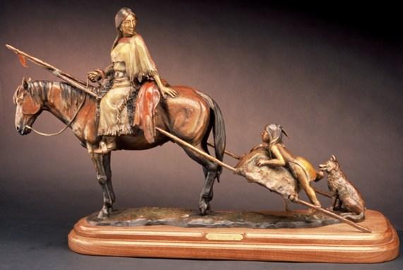 Moving Camp - Kliewer Western Native American Bronze Sculpture at Mountain Spirit Gallery in Prescott, arizona