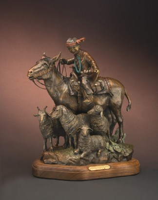 Gridlock at Window Rock - Kliewer Burro & Sheep Native American Bronzes at Mountain Spirit Gallery in Prescott, Arizona