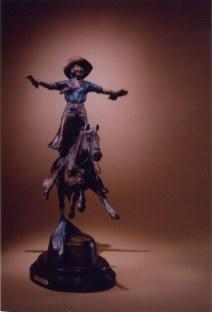 Grand Entry -Kliewer Rodeo Bronze sculpture at Mountain Spirit Gallery in Prescott , Arizona