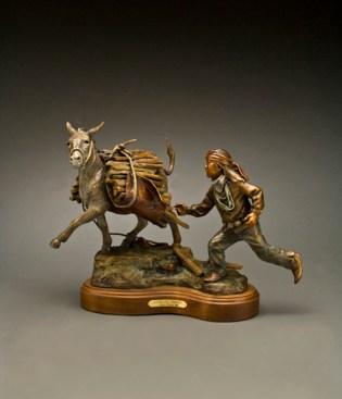 Jr. Goes Renegade - Kliewer Bronze Animal Sculpture at Mountain Spirit Gallery in Prescott, Arizona