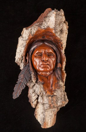 Night Hawk-Cottonwood Bark Carving-9x4x2.5 inches-$300.00