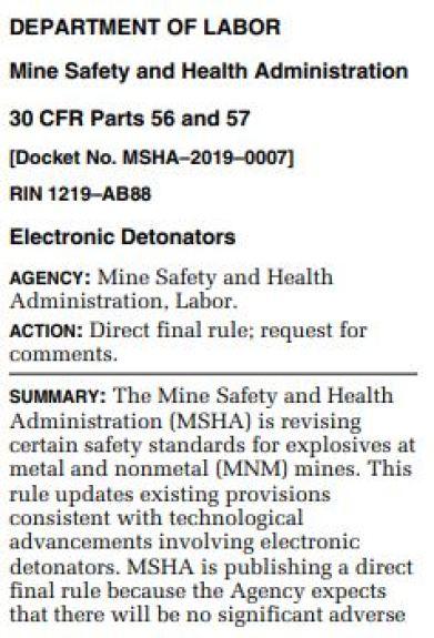 Detonators direct rule