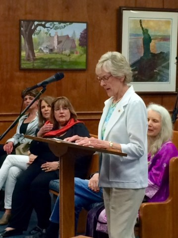 Elaine Becker of the Art ADvisory Committee deliver remarks about the donation of the Robert Beers artwork to the town collection.