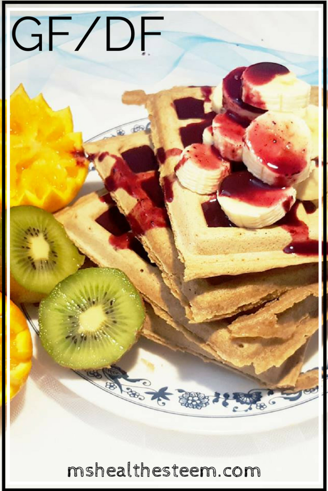 Perfect Sunday Breakfast Gluten Free, Dairy Free, Vegetarian Waffles with Blueberry Syrup