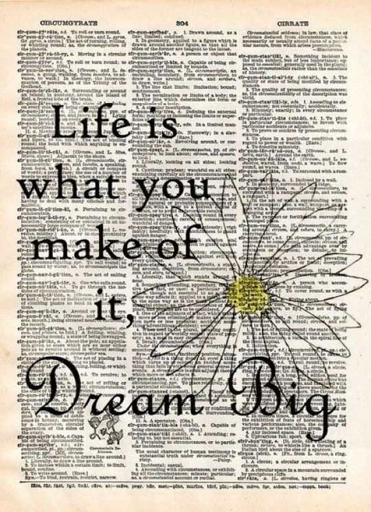 Inspiration Board - Inspirational Quotes. Life is what you make it - dream big