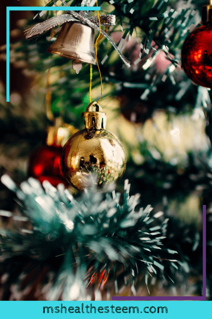 A close up of Christmas bulbs hanging from a tree.