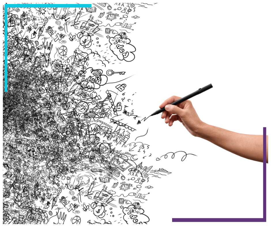 A bunch of hand drawn creative doodles are in the left side of the photo. To the right is a hand, holding a black pen, as if they just drew everything.