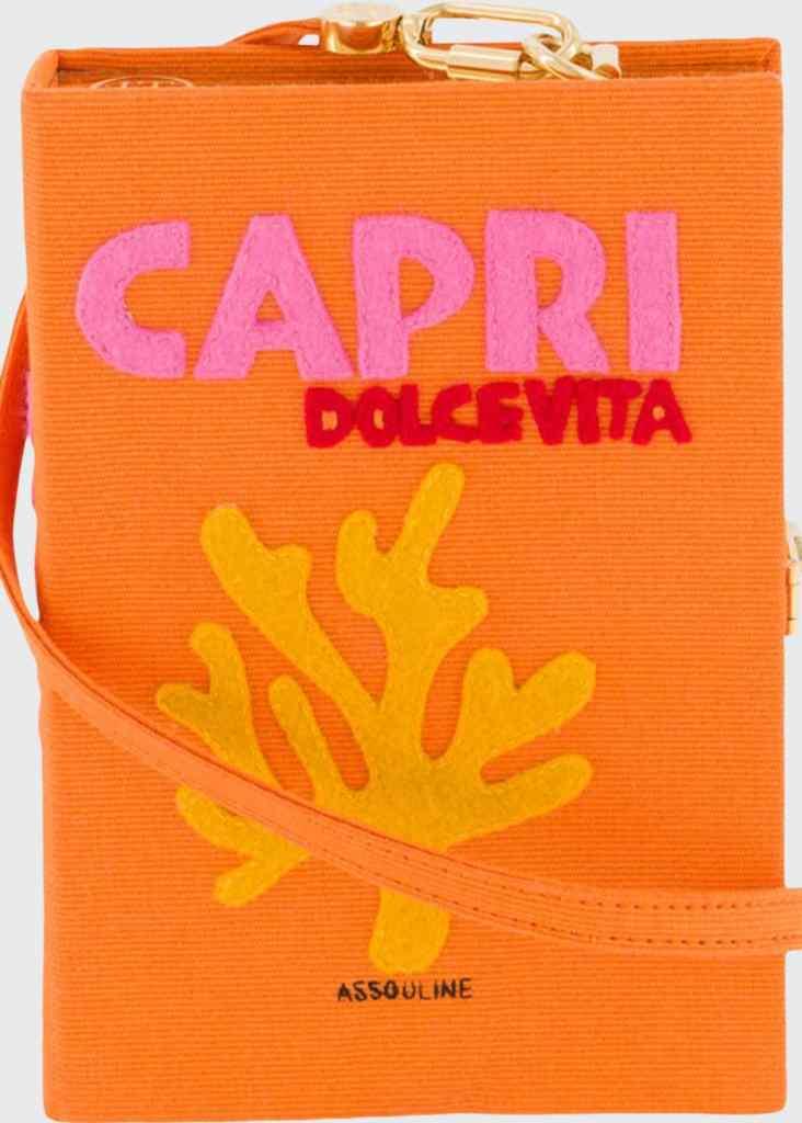 Olympia Le-Tan Capri Dolce Vita orange book clutch.