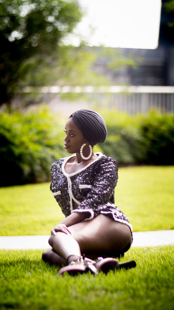Swim lessons--how to glam up swimwear with turban, sequins and statement earrings