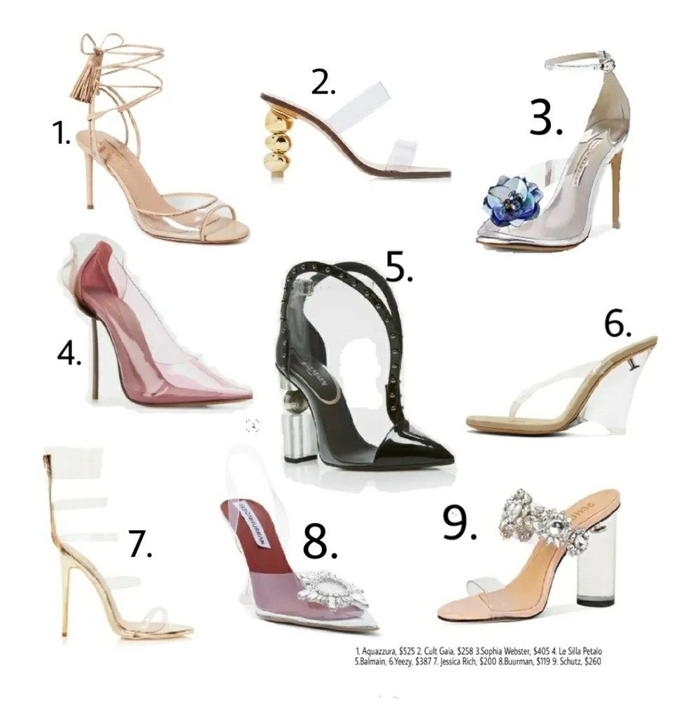 PVC/clear heels to wear this summer.