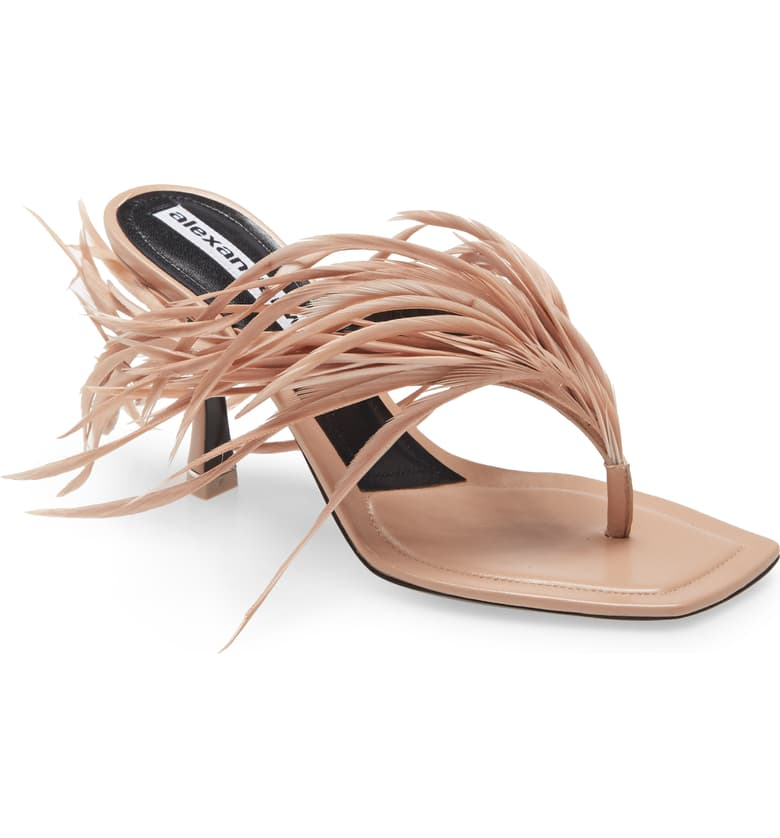 alexander wang sand stone ivy feather sandal