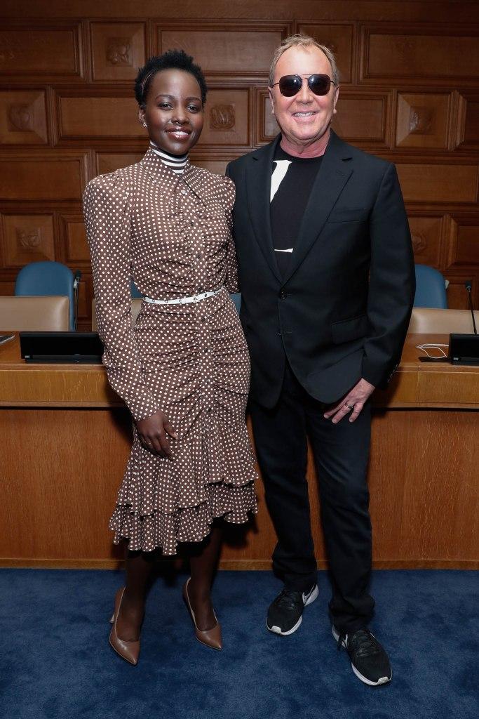 Lupita Nyongo in nude Kahmune heels