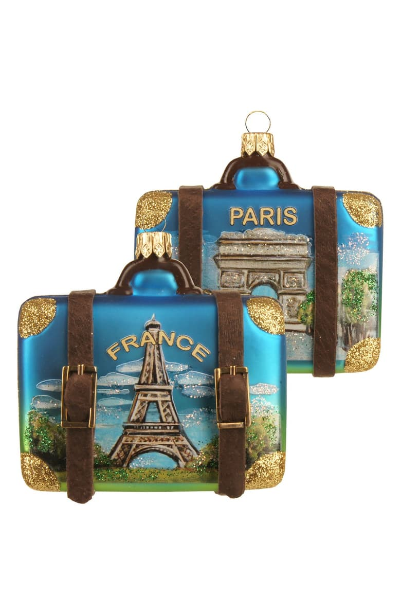 At Home Paris France Suitcases Christmas Ornaments