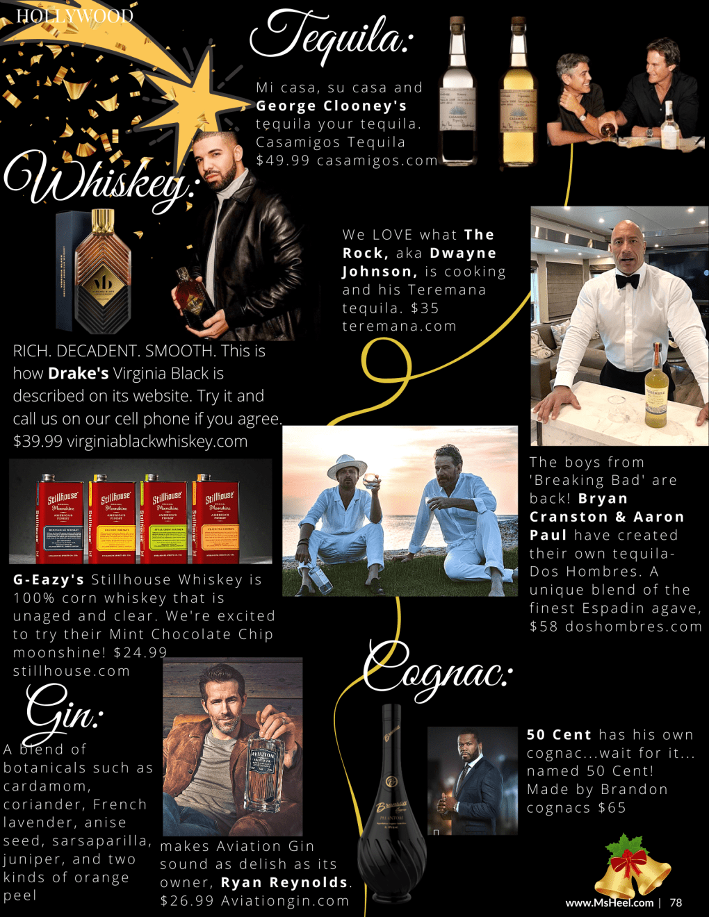 George Clooney Tequila, The Rock Tequila, Bryan Cranston and Aaron Paul tequila, Ryan Reynolds gin, 50 cent cognac and Drake whiskey.