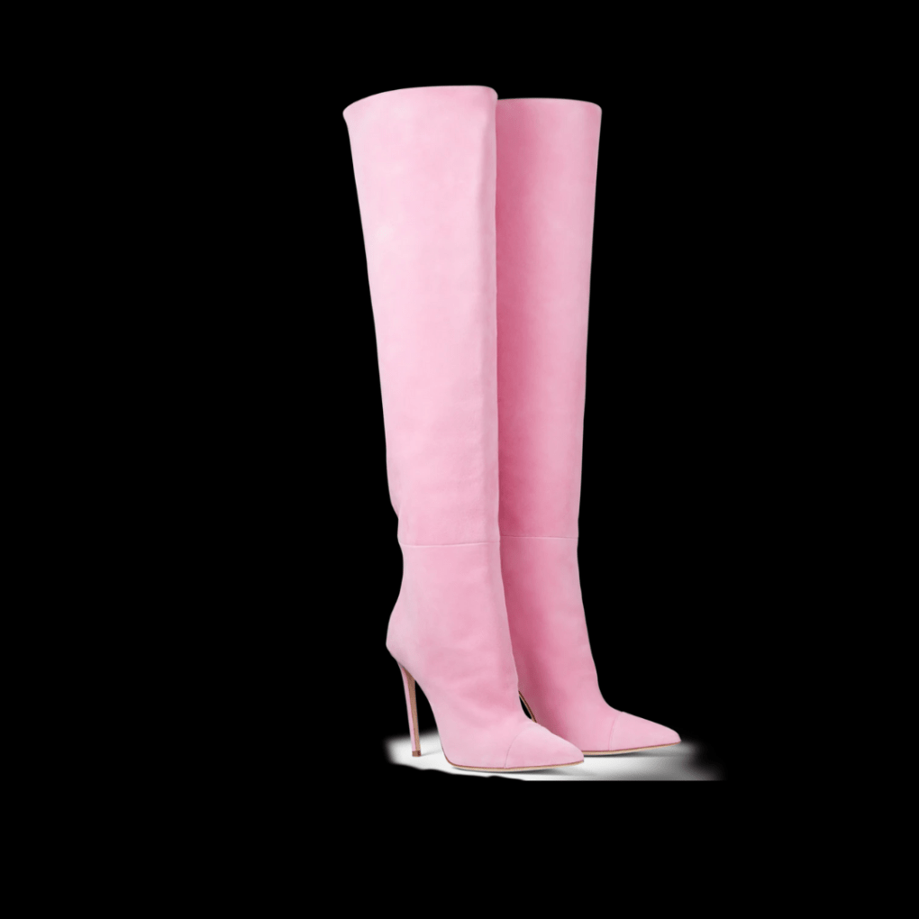 Ralph & Russo Pink Suede Over The Knee Boots.