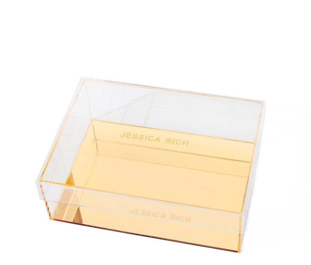 Jessica Rich gold glass box