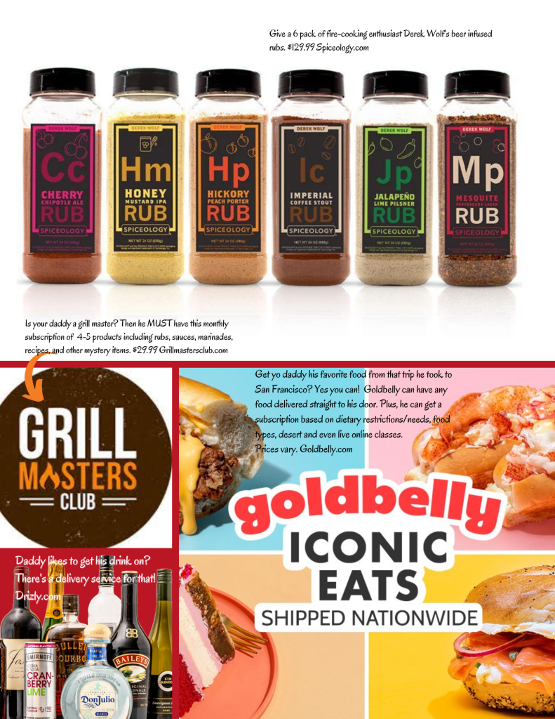 Virtual father's day gift guide spiceology.com, grillmastersclub.com, goldbelly.com, and drizly.com.