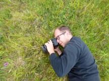 Matt photographing a Pyramidal Orchid (Anacamptis pyramidalis)