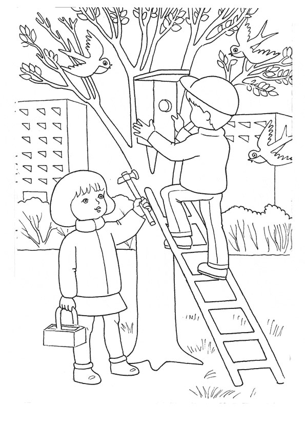раскраски весна мама и малыш