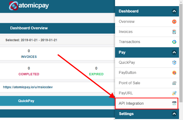 AtomicPay menu select API Integration