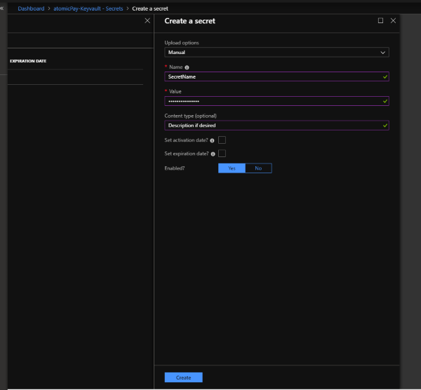 Azure KeyVault add secret