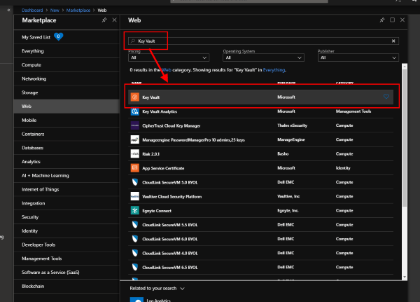 Azure Marketplace search for Key Vault