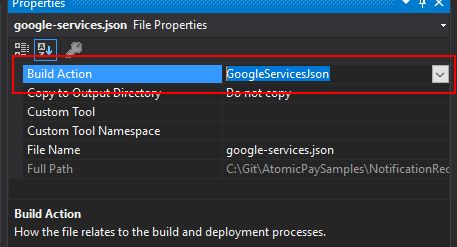 VS-google-services-build-action
