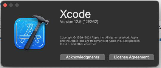Xcode 12.5 about window