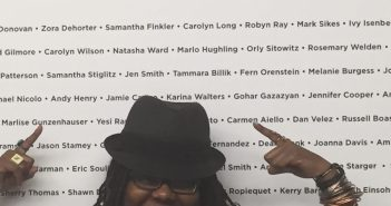 At the SAG-AFTRA building, her name is printed on the wall behind her