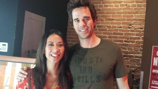 Elaine with actor David Walton on the set of Without A Boy