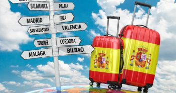 Travel concept. Suitcases and signpost what to visit in Spain
