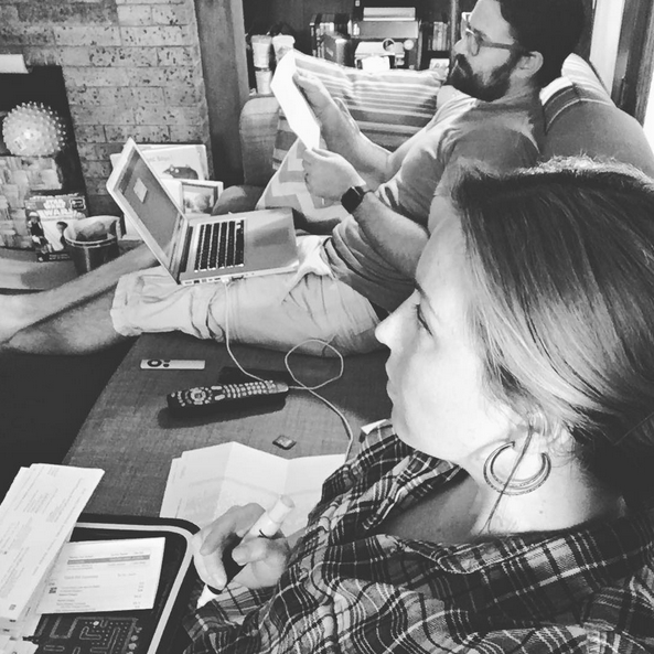 """(@JennicaRenee & @RyanSchwartzman working hard on a project together…while watching """"House of Cards"""")"""