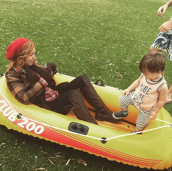 Getting ready to film on the water, rehearsal on the ground with a 2 year old jumping in the scene - @JennicaRenee Instagram