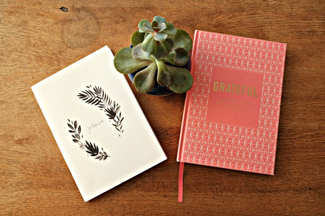 Picture of my journal with my name on the front, a succulant in the middle of the image and a grateful journal with pink cover on the right.