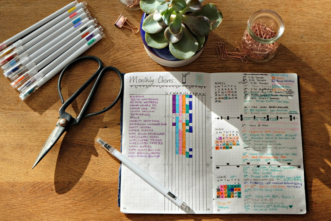 Picture of my bullet journal open,  showing a list of monthly chores.  Surrounded by stickers and kikki k coloured pens.