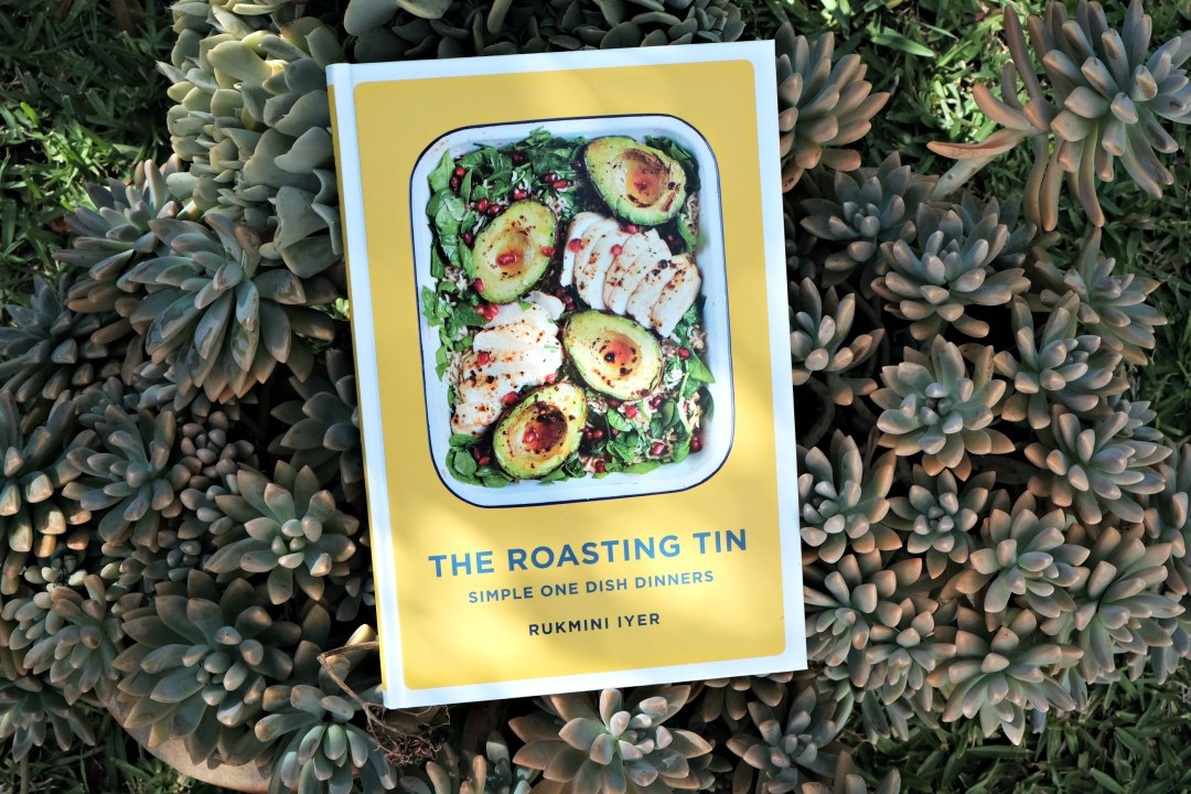 The Roasting Tin cookbook by Rukmini Iyer displayed on a very large succulant!