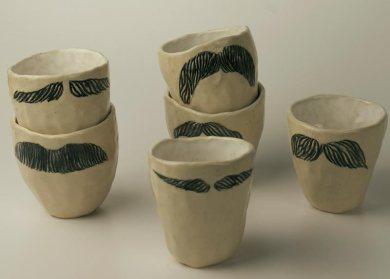 Moustache Cups 2012, ceramic, glaze